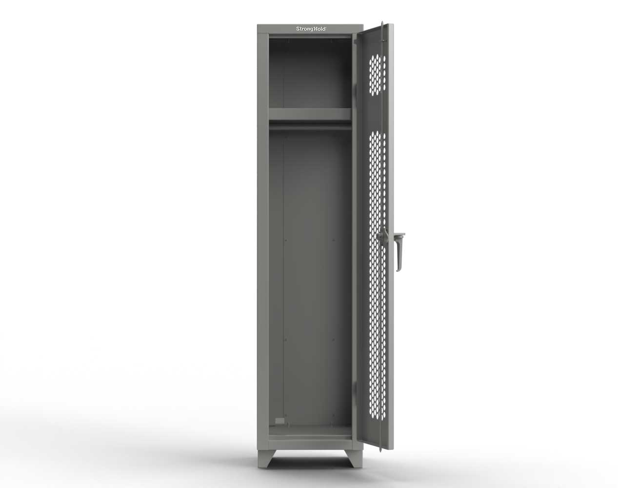 Extra Heavy Duty 14 GA Ventilated Single-Tier Locker with Shelf and Hanger Rod, 1 Compartment – 18 in. W x 18 in. D x 75 in. H