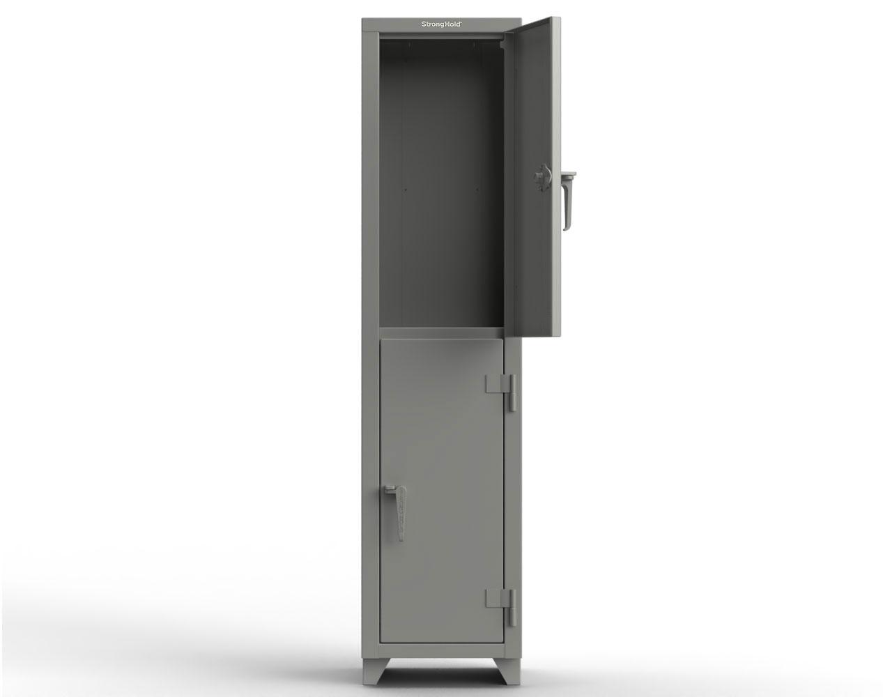 Extra Heavy Duty 14 GA Double-Tier Locker, 2 Compartments – 18 in. W x 18 in. D x 75 in. H