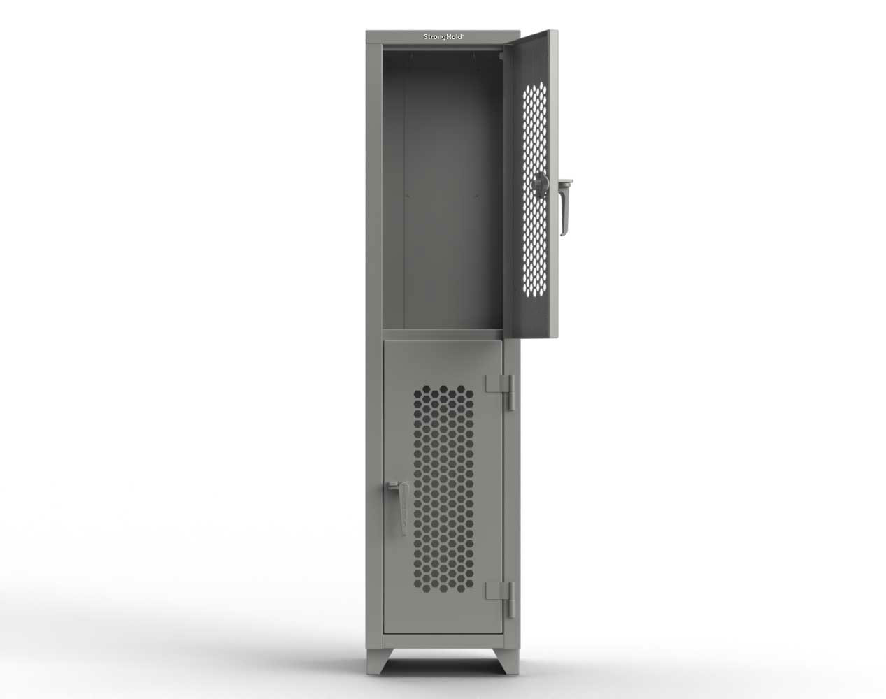 Extra Heavy Duty 14 GA Double-Tier Ventilated Locker, 2 Compartments – 18 in. W x 18 in. D x 75 in. H