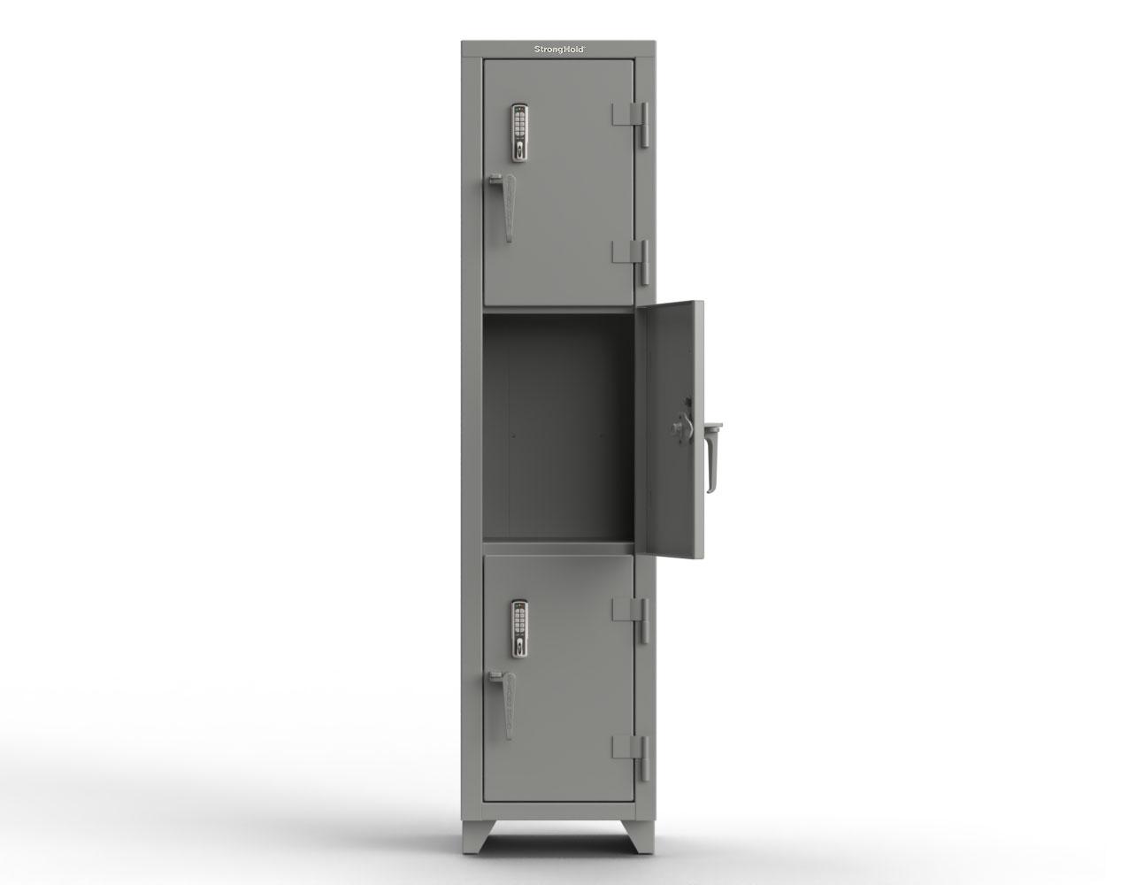 Extra Heavy Duty 14 GA Triple-Tier Locker with Keyless Entry Lock, 3 Compartments – 18 in. W x 18 in. D x 75 in. H
