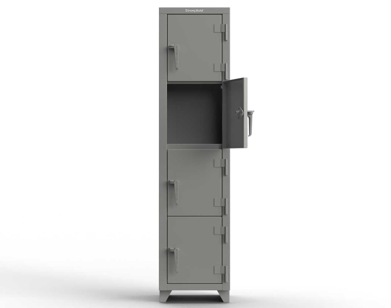 Extra Heavy Duty 14 GA 4-Tier Locker, 4 Compartments – 18 in. W x 18 in. D x 75 in. H