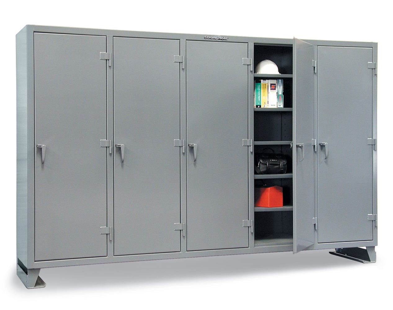 Extra Heavy Duty 12 GA Multi-Shift Cabinet with 25 Shelves – 122 In. W x 24 In. D x 78 In. H
