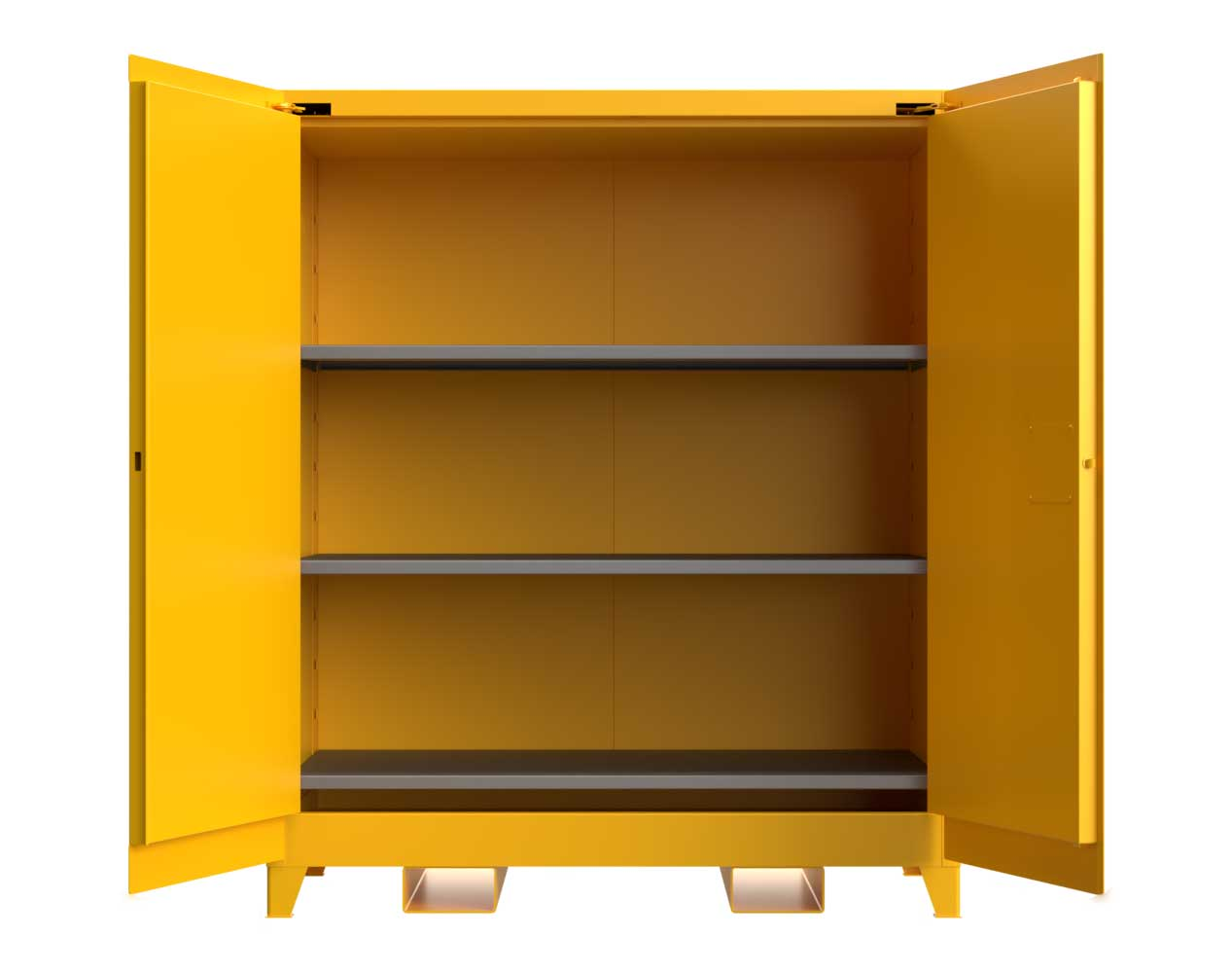 Extra Heavy Duty 14 GA 120 Gallon Flammable Safety Cabinet with Self-Closing Doors, 3 Shelves, Forklift Pockets – 59 In. W x 34 In. D x 70 In. H