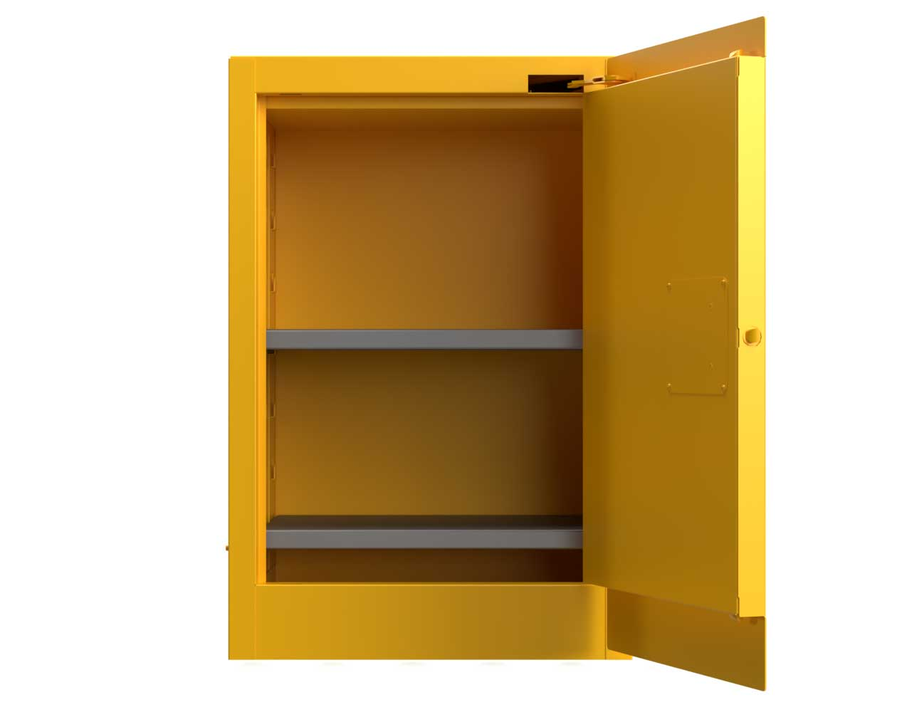 Heavy Duty 14 GA 12 Gallon Flammable Safety Cabinet with Manual-Closing Doors, 2 Shelves – 24 In. W x 18 In. D x 36 In. H