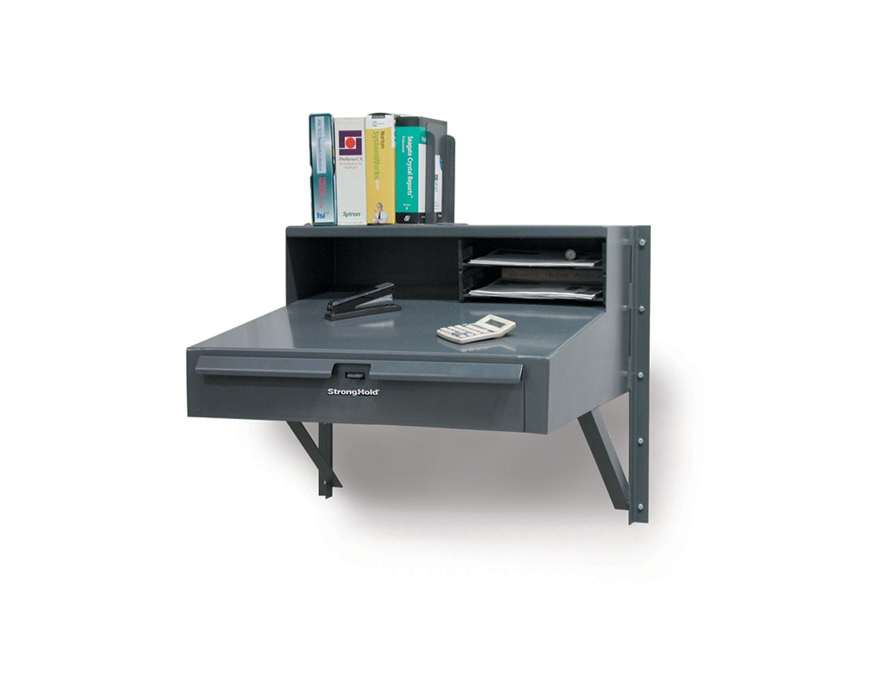 Extra Heavy Duty 12 GA Wall-Mounted Shop Desk with 1 Drawer, Riser Shelf – 30 In. W x 28 In. D x 27 In. H
