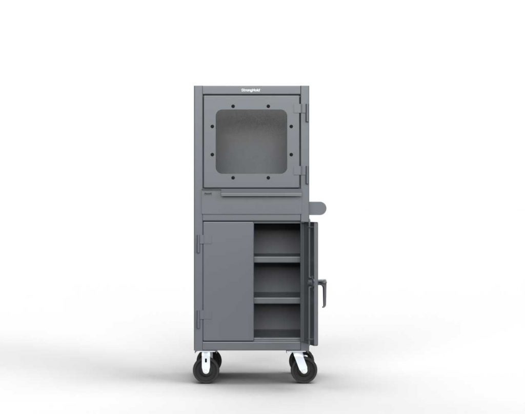 12 GA Mobile Computer Cabinet with Retractable Keyboard
