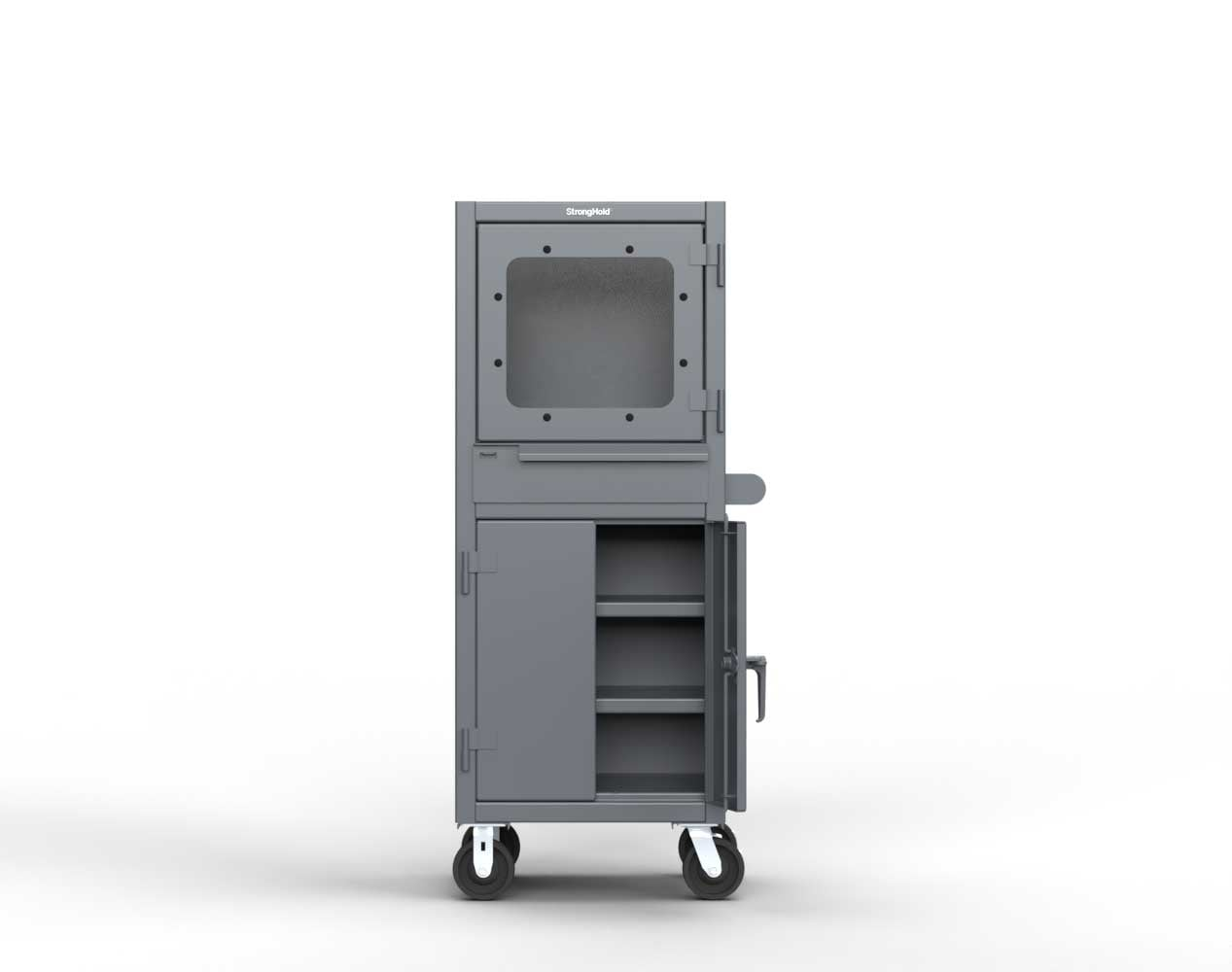 Extreme Duty 12 GA Mobile Computer Cabinet with 2 Shelves – 26 In. W x 24 In. D x 68 In. H