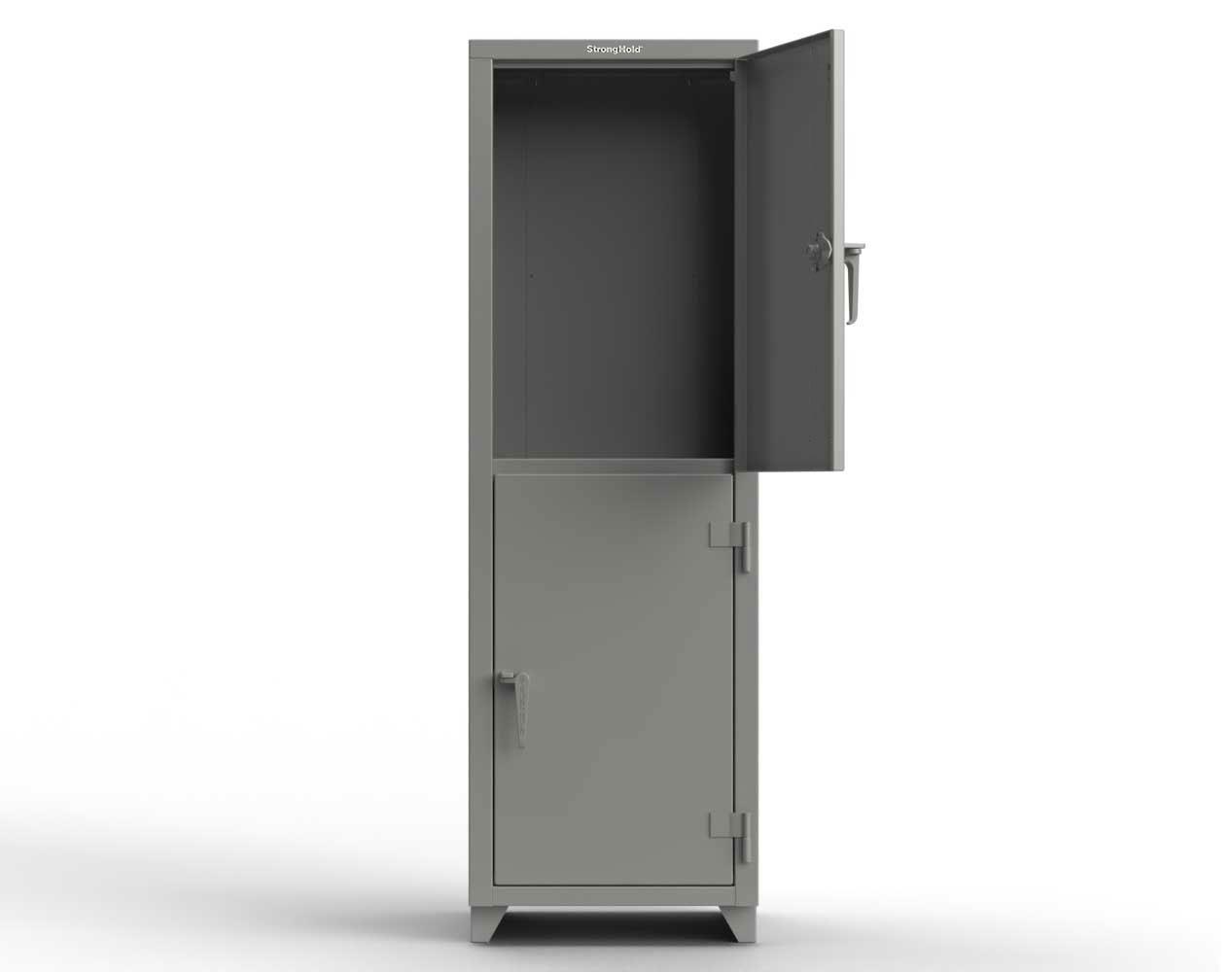 Extra Heavy Duty 14 GA Double-Tier Locker, 2 Compartments – 24 in. W x 24 in. D x 75 in. H