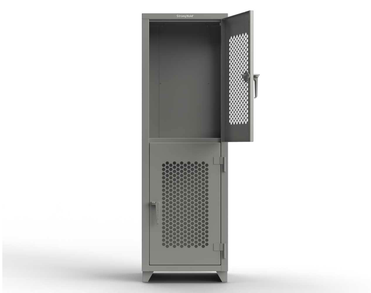Extra Heavy Duty 14 GA Double-Tier Ventilated Locker, 2 Compartments – 24 in. W x 24 in. D x 75 in. H