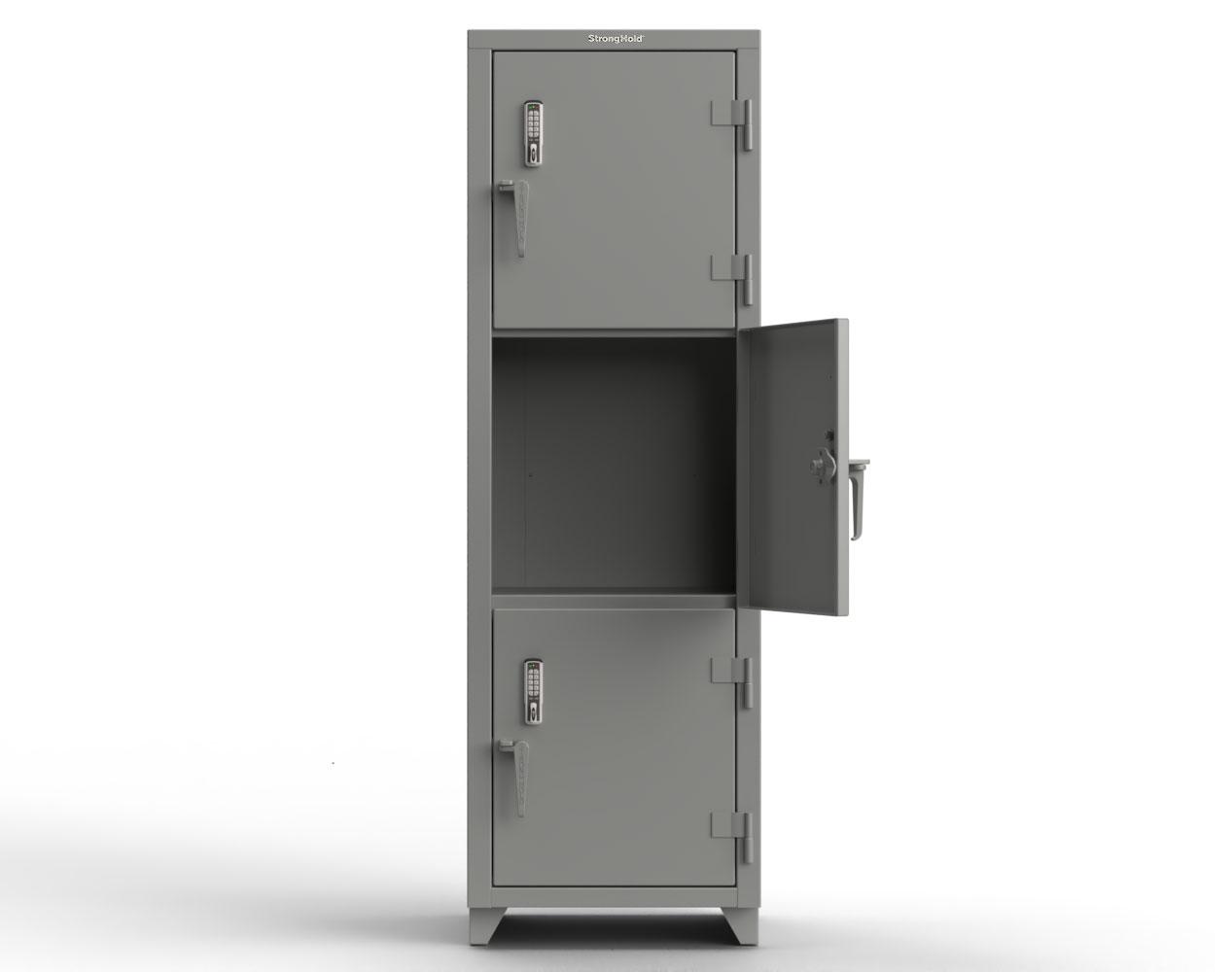 Extra Heavy Duty 14 GA Triple-Tier Locker with Keyless Entry Lock, 3 Compartments – 24 in. W x 24 in. D x 75 in. H