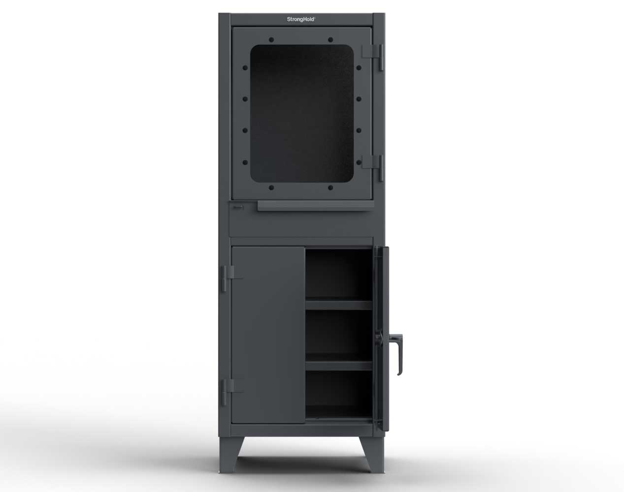 Extra Heavy Duty 12 GA Computer Cabinet with Retractable Keyboard, 2 Shelves – 26 In. W x 24 In. D x 72 In. H