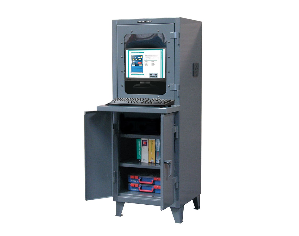 Extra Heavy Duty 12 GA Computer Cabinet with 2 Shelves – 26 In. W x 24 In. D x 72 In. H
