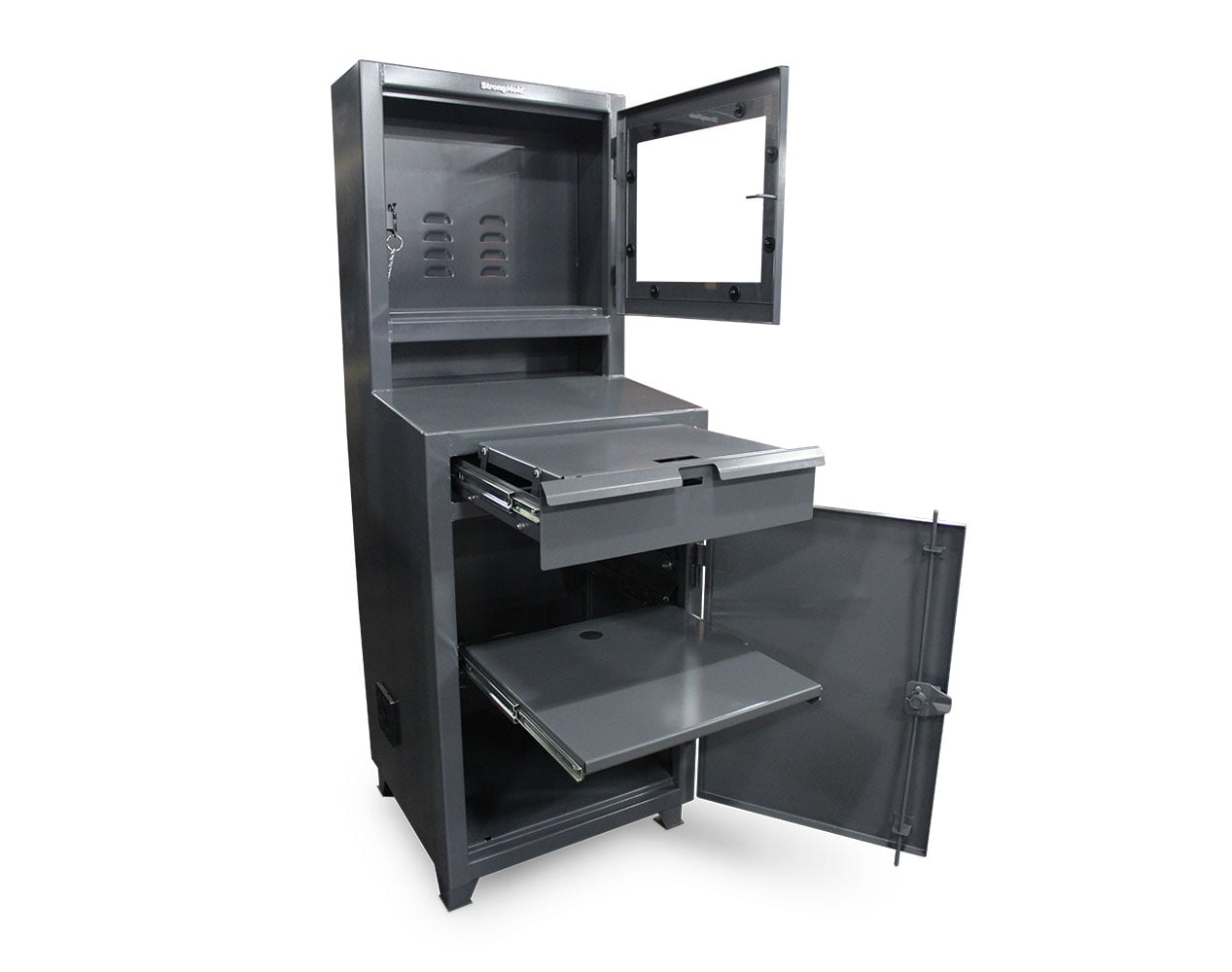 Extra Heavy Duty 12 GA Flat Screen Computer Cabinet with Retractable Keyboard, Slide-Out Shelf – 26 In. W x 24 In. D x 72 In. H