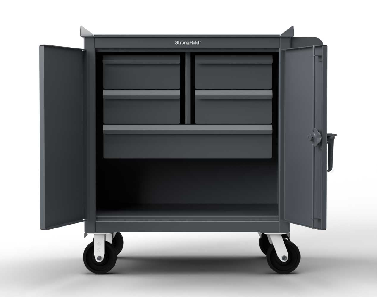 Extra Heavy Duty 12 GA Mobile Tool Cart with 7 GA Steel Top, 4 Half-Width Drawers – 36 in. W x 24 in. D x 44 in. H