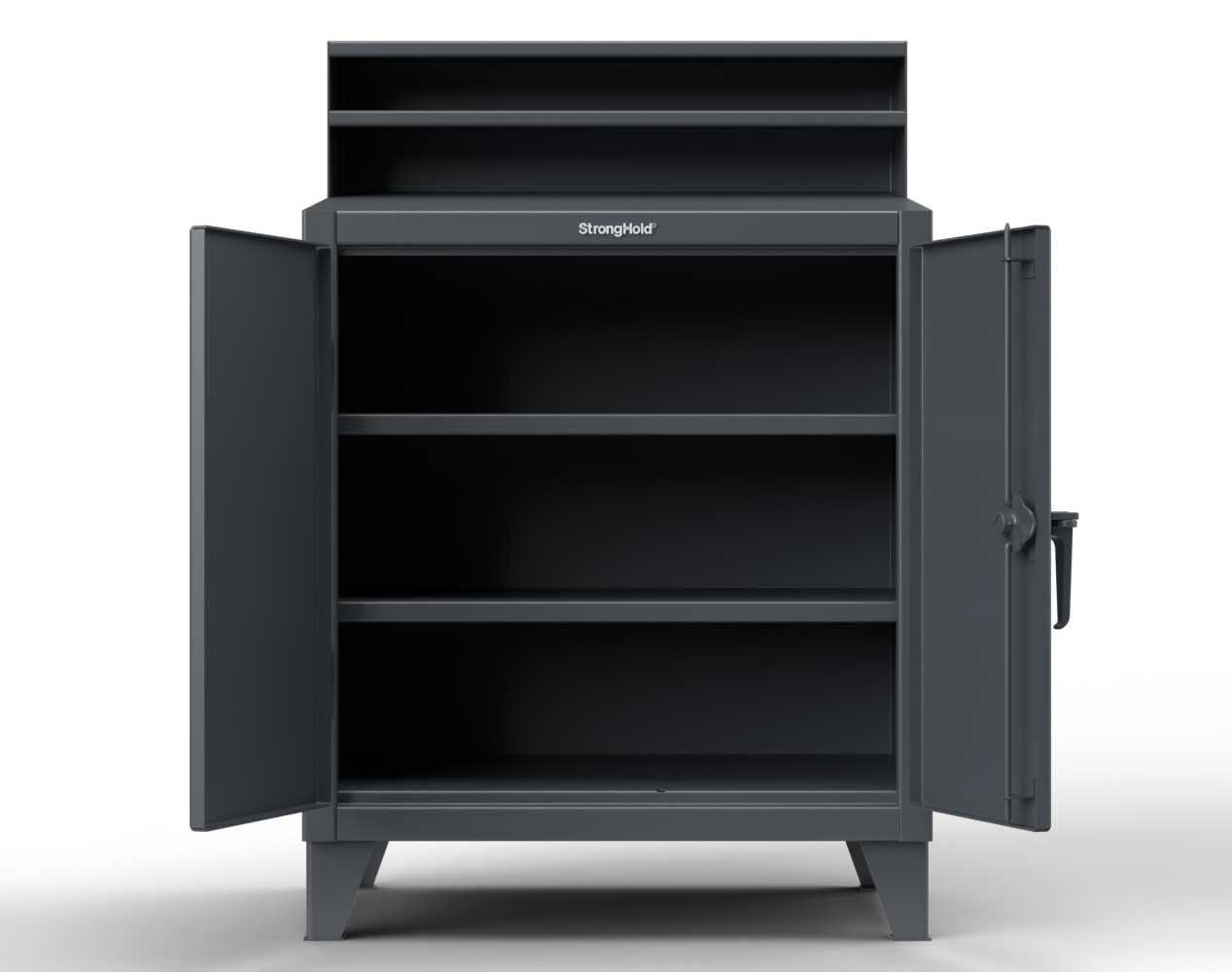 Extra Heavy Duty 12 GA Shop Desk with 2 Shelves, Riser Shelf  – 48 In. W x 28 In. D x 54 In. H