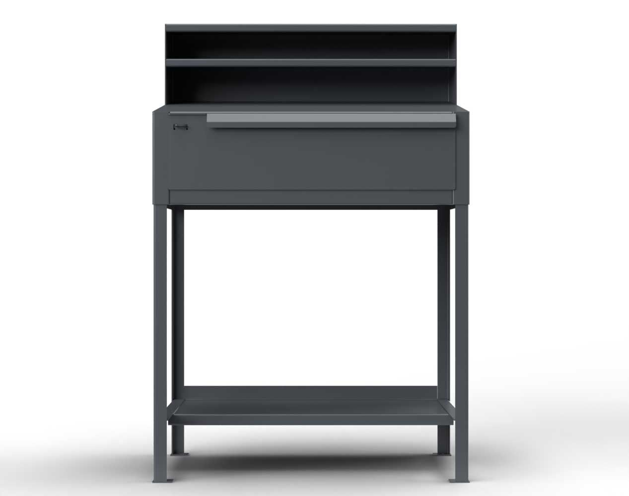 Extra Heavy Duty 12 GA Shipping and Receiving Desk with 1 Drawer, 1 Shelf, Riser Shelf – 36 In. W x 28 In. D x 54 In. H
