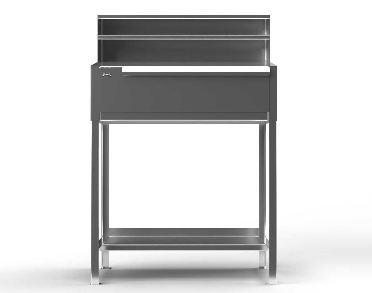 Extra Heavy Duty 12 GA Stainless Steel Shipping and Receiving Desk with 1 Drawer, 1 Shelf, Riser Shelf – 36 In. W x 28 In. D x 54 In. H