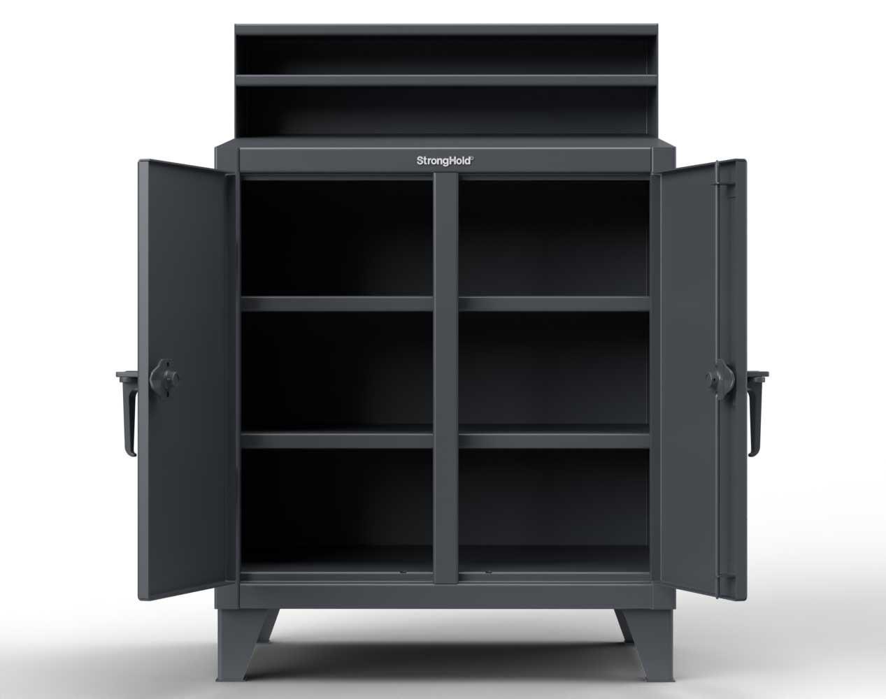 Extra Heavy Duty 12 GA Double Shift Shop Desk with 4 Shelves, Riser Shelf – 48 In. W x 28 In. D x 54 In. H