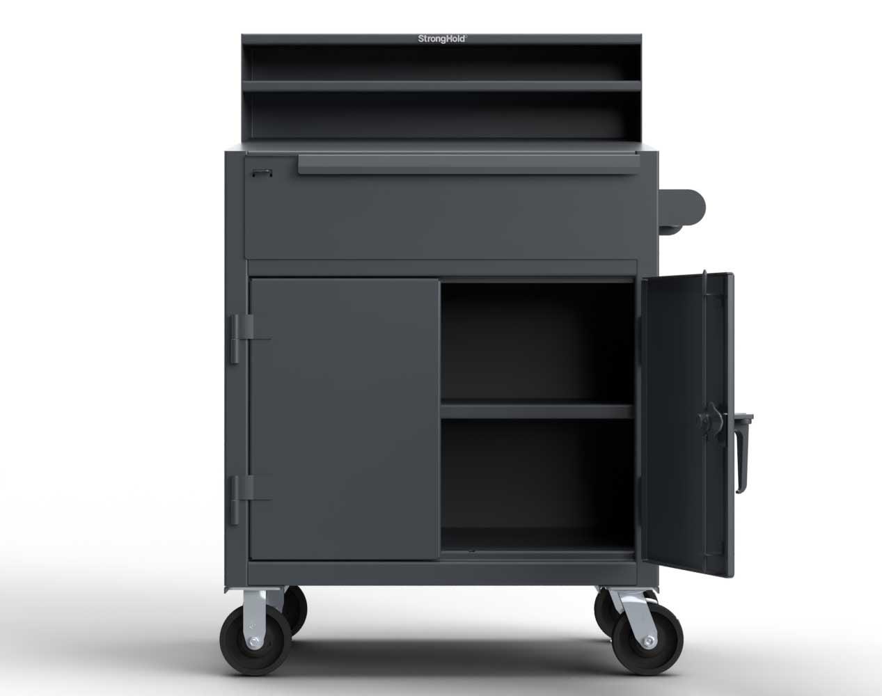 Extra Heavy Duty 12 GA Mobile Shop Desk 1 Drawer, 1 Shelf, Riser Shelf – 36 In. W x 28 In. D x 54 In. H