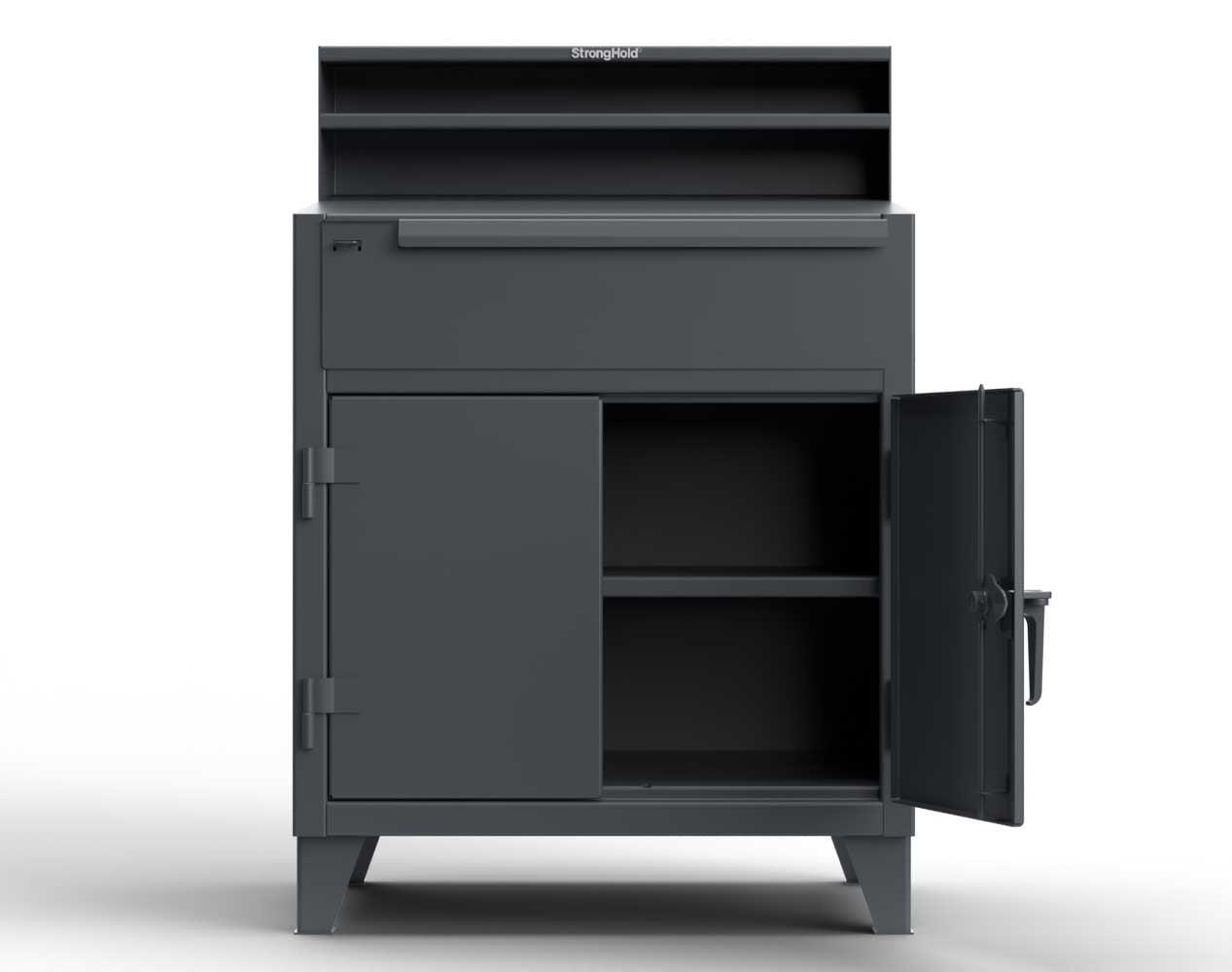 Extra Heavy Duty 12 GA Shop Desk with 1 Drawer, 1 Shelf, Riser Shelf  – 36 In. W x 28 In. D x 54 In. H
