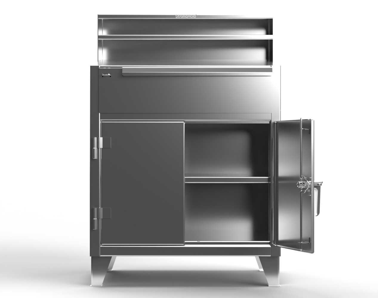 Extra Heavy Duty 12 GA Stainless Steel Shop Desk with 1 Drawer, 1 Shelf, Riser Shelf – 36 In. W x 28 In. D x 54 In. H