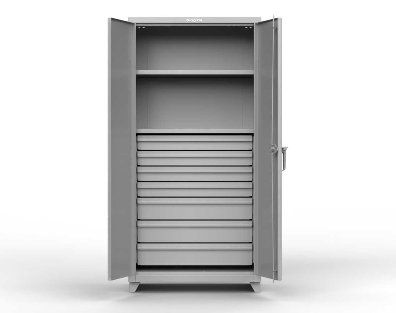 Heavy Duty 14 GA Cabinet with 7 Drawers, 2 Shelves – 36 In. W x 24 In. D x 75 In. H