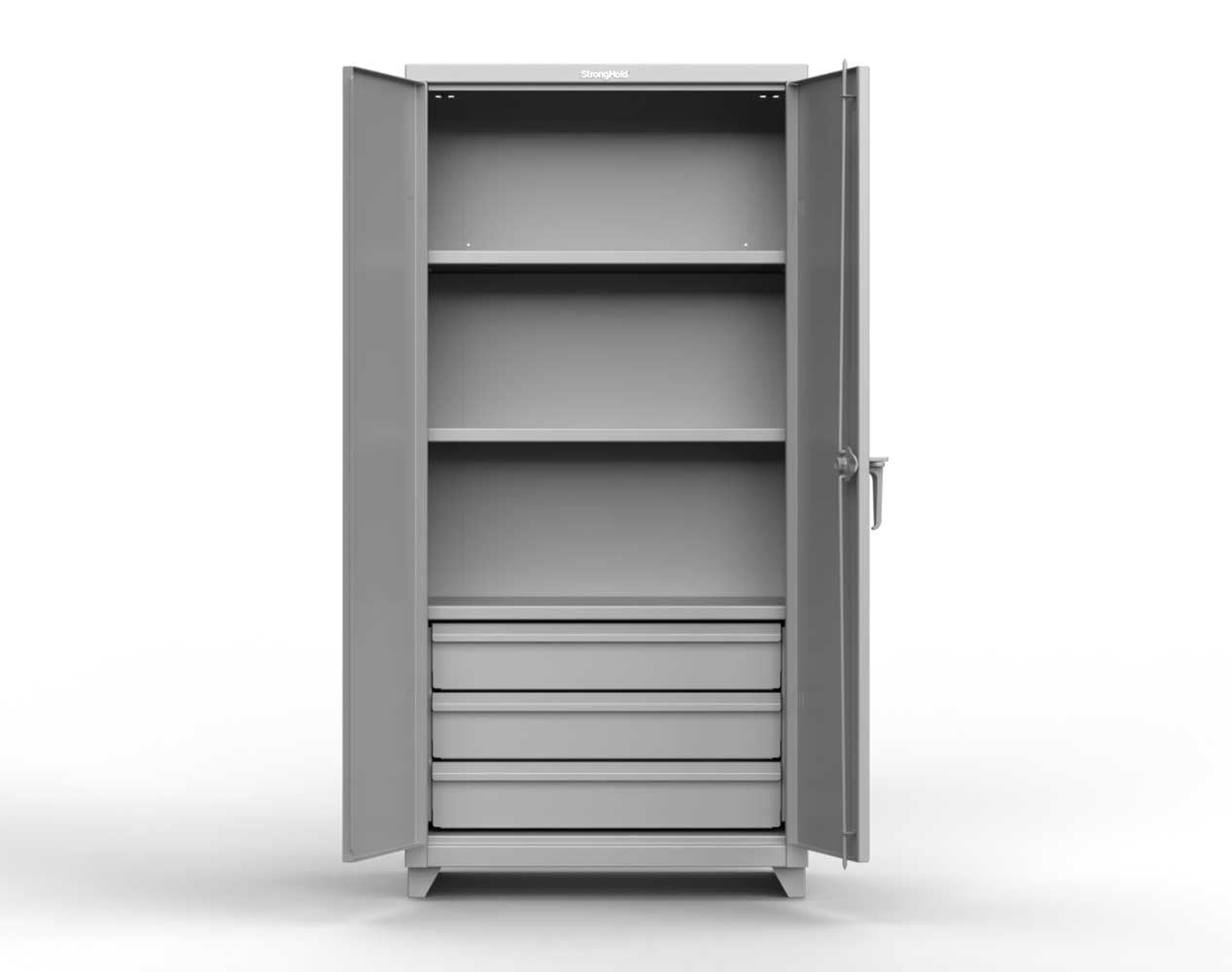 Heavy Duty 14 GA Cabinet with 3 Drawers, 4 Shelves – 36 In. W x 24 In. D x 75 In. H