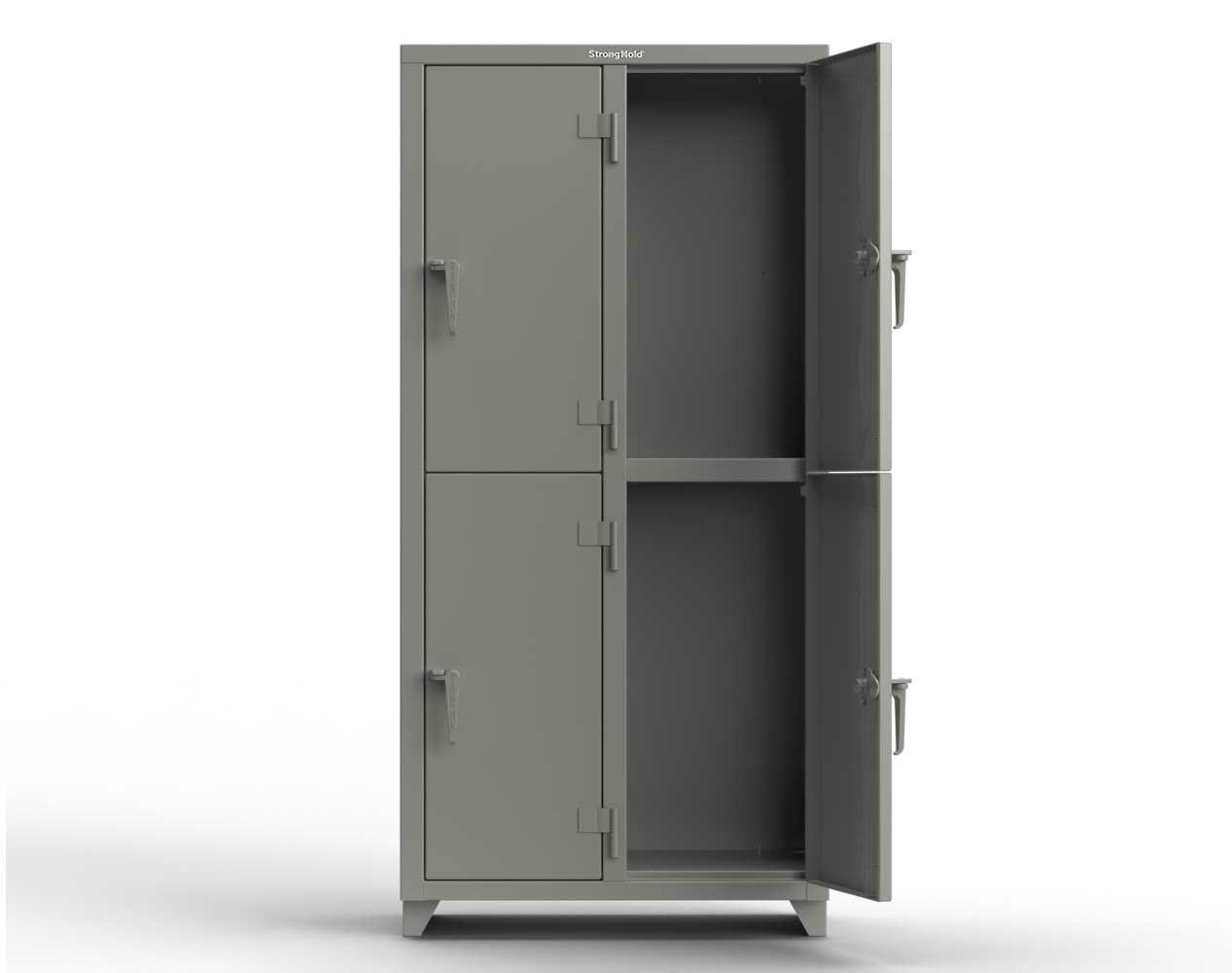 Extra Heavy Duty 14 GA Double-Tier Locker, 4 Compartments – 36 in. W x 18 in. D x 75 in. H