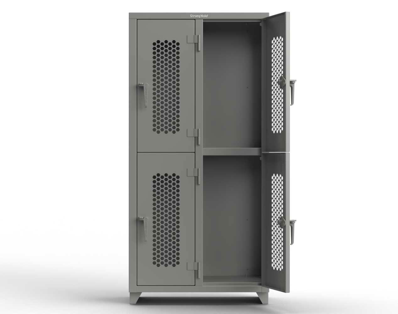 Extra Heavy Duty 14 GA Double-Tier Ventilated Locker, 4 Compartments – 36 in. W x 18 in. D x 75 in. H
