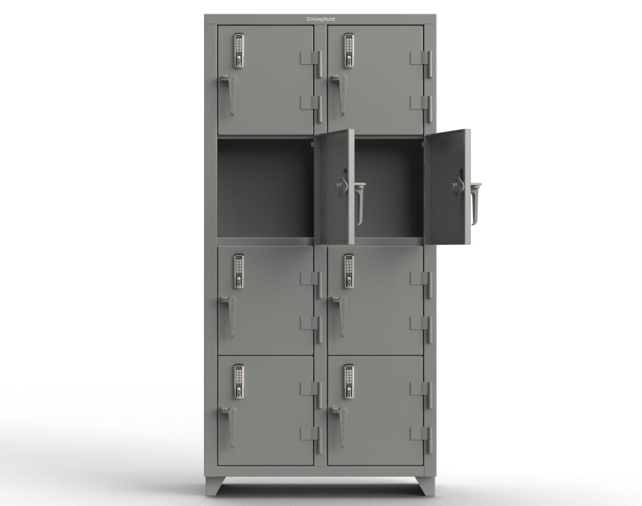 Extra Heavy Duty 14 GA 4-Tier Locker with Keyless Entry Lock, 8 Compartments – 36 in. W x 18 in. D x 75 in. H