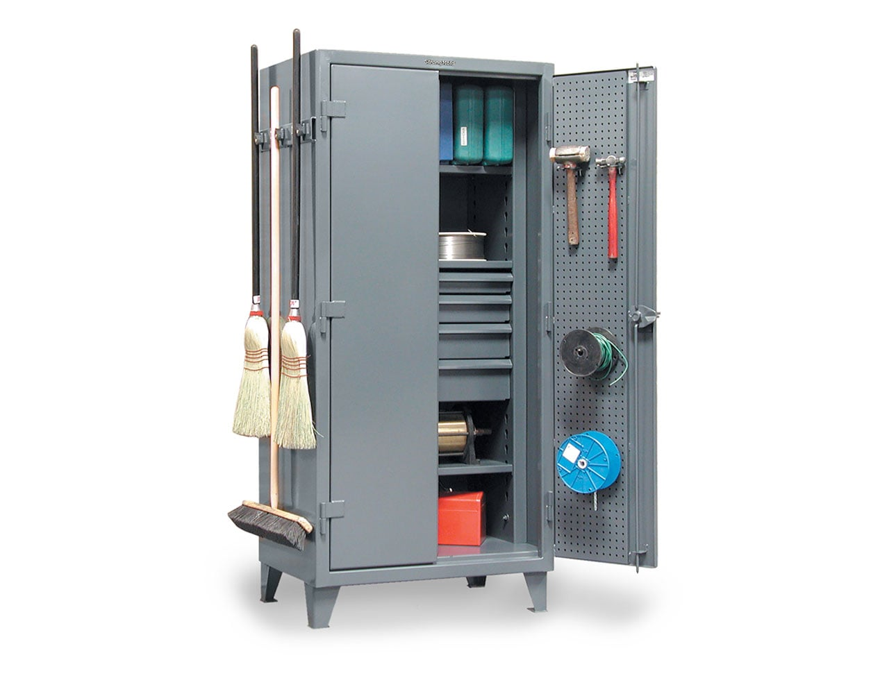 Extra Heavy Duty 12 GA Cabinet with Pegboard Doors, Broom Handles, 4 Drawers, 3 Shelves   – 36 In. W x 24 In. D x 78 In. H