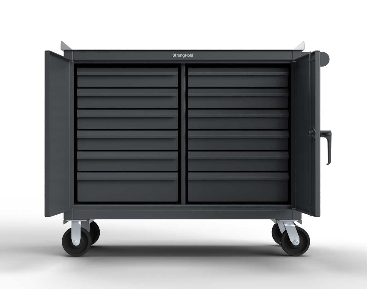 Extra Heavy Duty 12 GA Mobile Tool Cart with 7 GA Steel Top, 12 Half-Width Drawers – 48 in. W x 24 in. D x 44 in. H