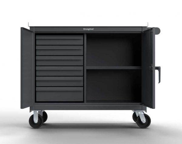 Mobile Tool Cart with 7 GA Top and Drawers