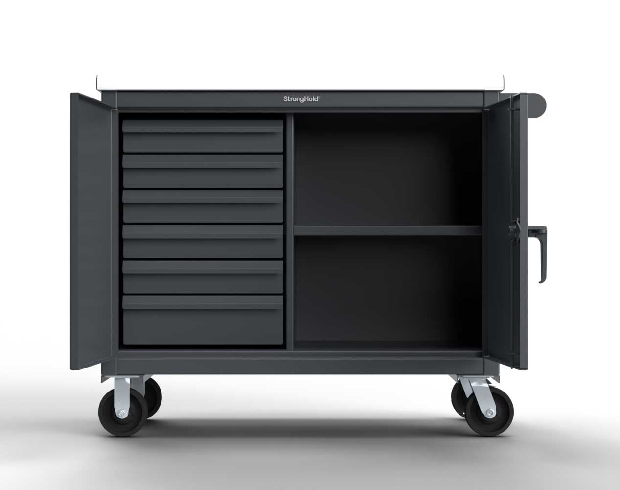 Extra Heavy Duty 12 GA Mobile Tool Cart with 7 GA Steel Top, 6 Half-Width Drawers, 1 Shelf – 48 in. W x 24 in. D x 44 in. H