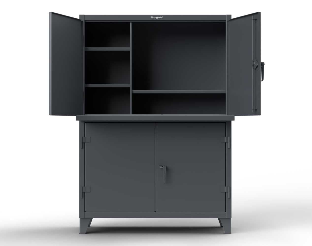 Extreme Duty 12 GA Multi-Compartment Computer Cabinet with 4 Shelves – 60 In. W x 24 In. D x 78 In. H