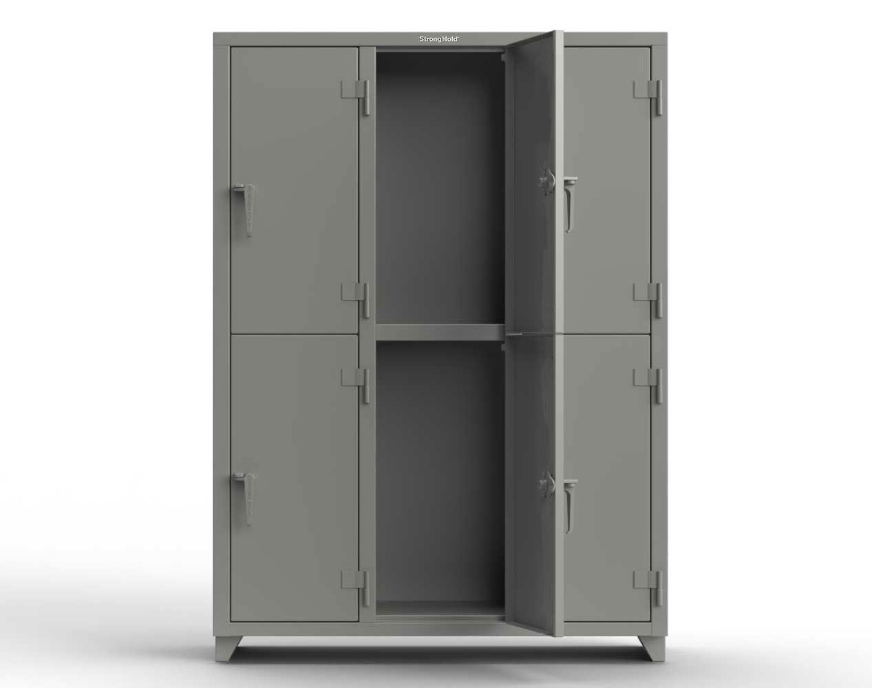 Extra Heavy Duty 14 GA Double-Tier Locker, 6 Compartments – 54 in. W x 18 in. D x 75 in. H