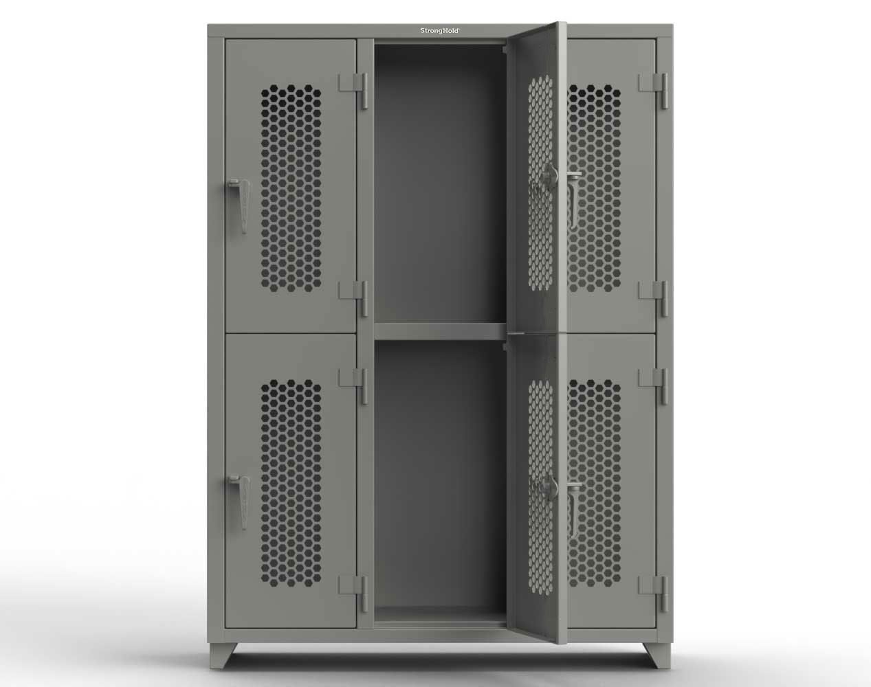 Extra Heavy Duty 14 GA Double-Tier Ventilated Locker, 6 Compartments – 54 in. W x 18 in. D x 75 in. H