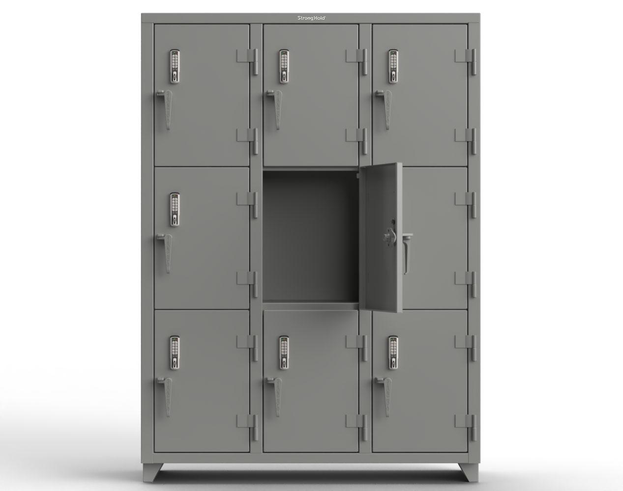 Extra Heavy Duty 14 GA Triple-Tier Locker with Keyless Entry Lock, 9 Compartments – 54 in. W x 18 in. D x 75 in. H