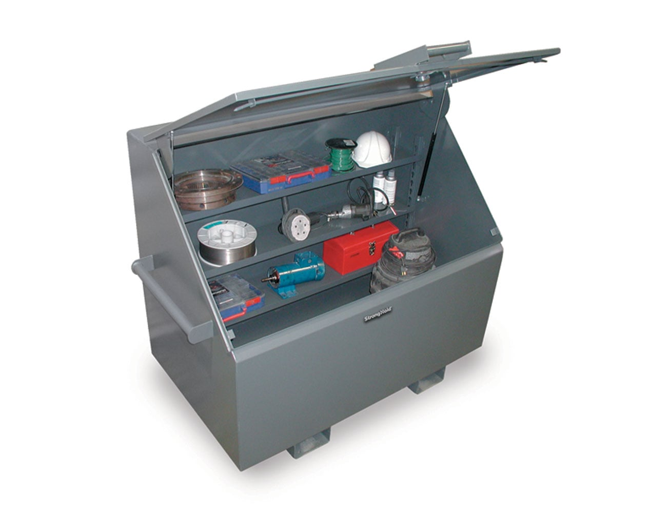 Extra Heavy Duty 12 GA Job Site Box with Lift-Up Lid, 3 Shelves – 48 In. W x 36 In. D x 48 In. H