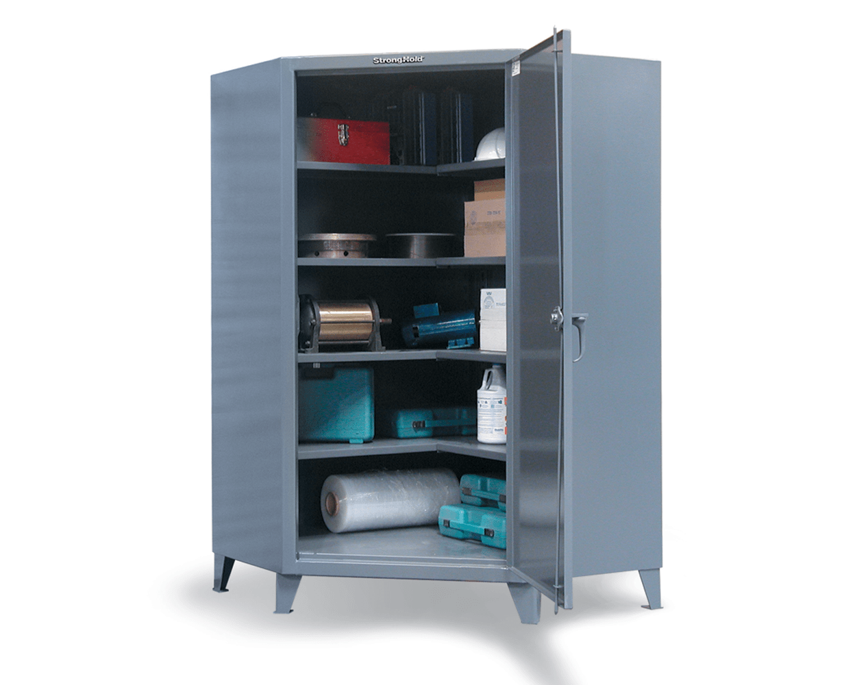 Extra Heavy Duty 12 GA Corner Cabinet with 4 Shelves – 48 In. W x 24 In. D x 78 In. H