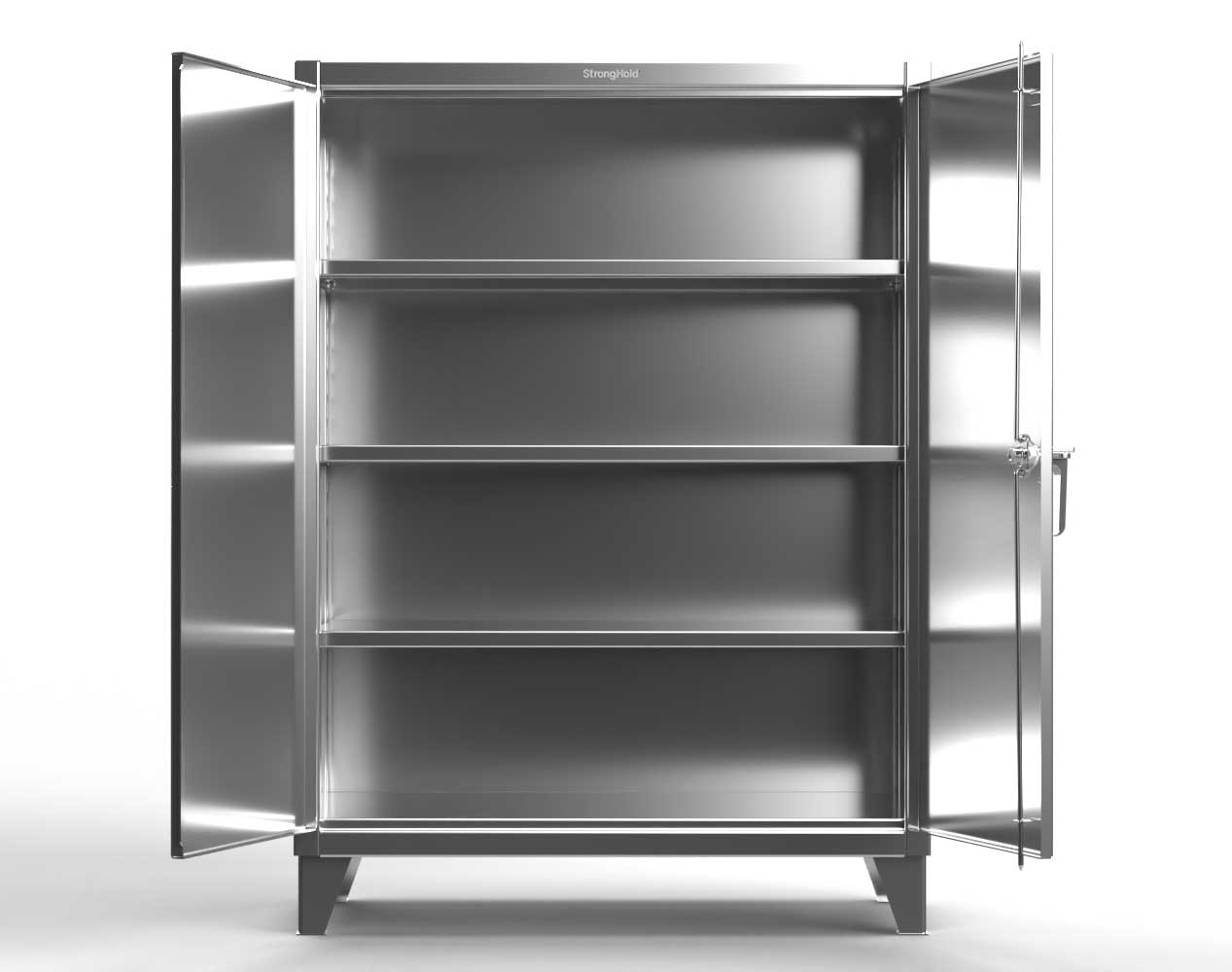 Extreme Duty 12 GA Stainless Steel Cabinet with 3 Shelves – 48 In. W x 24 In. D x 66 In. H