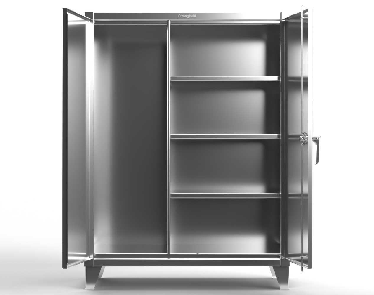 Extreme Duty 12 GA Stainless Steel Janitorial Cabinet with 3 Shelves – 72 In. W x 24 In. D x 66 In. H