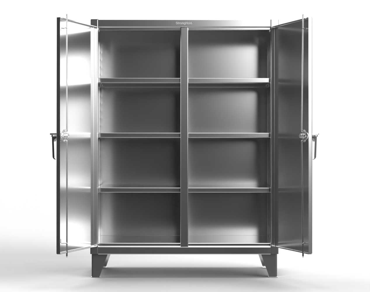 Extra Heavy Duty 12 GA Stainless Steel Double Shift Cabinet with 6 Shelves – 72 In. W x 24 In. D x 66 In. H