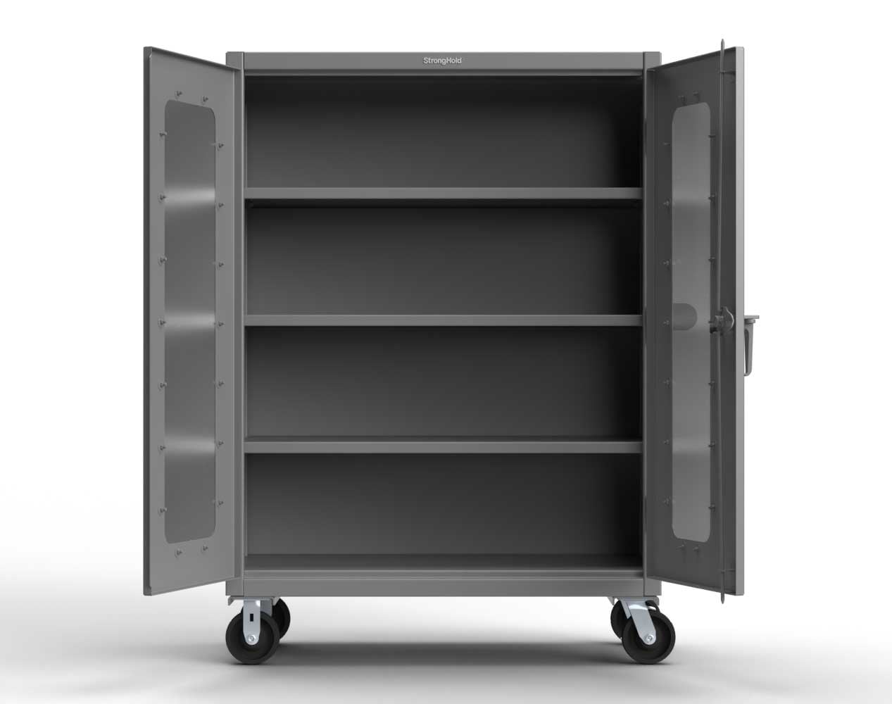 Heavy Duty 14 GA Clear View Mobile Medical Cabinet with Cylinder Lock – 48 In. W x 24 In. D x 68 In. H