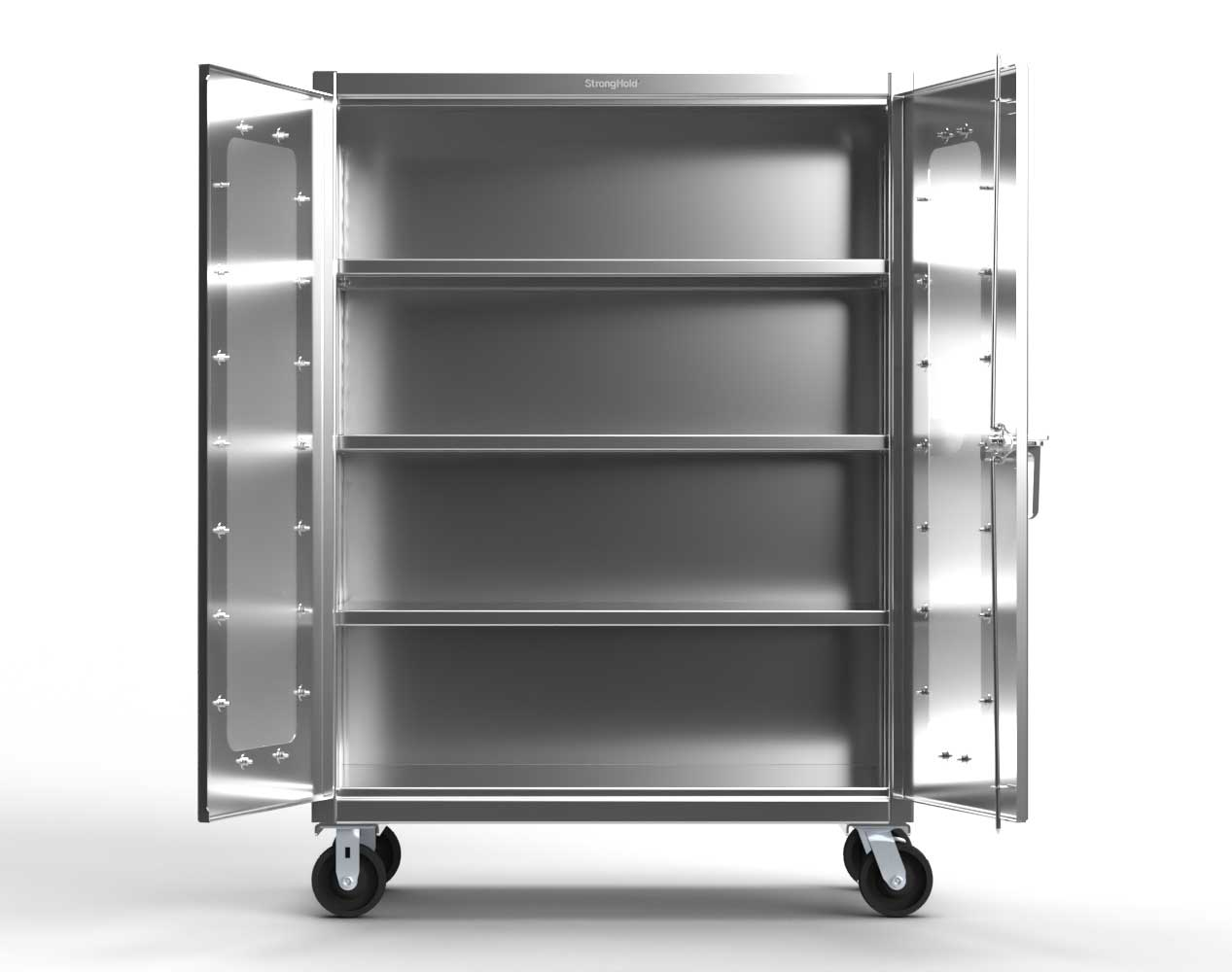 Extreme Duty 12 GA Stainless Steel Mobile Medical Cabinet with Cylinder Lock, 2 Shelves – 36 In. W x 24 In. D x 44 In. H