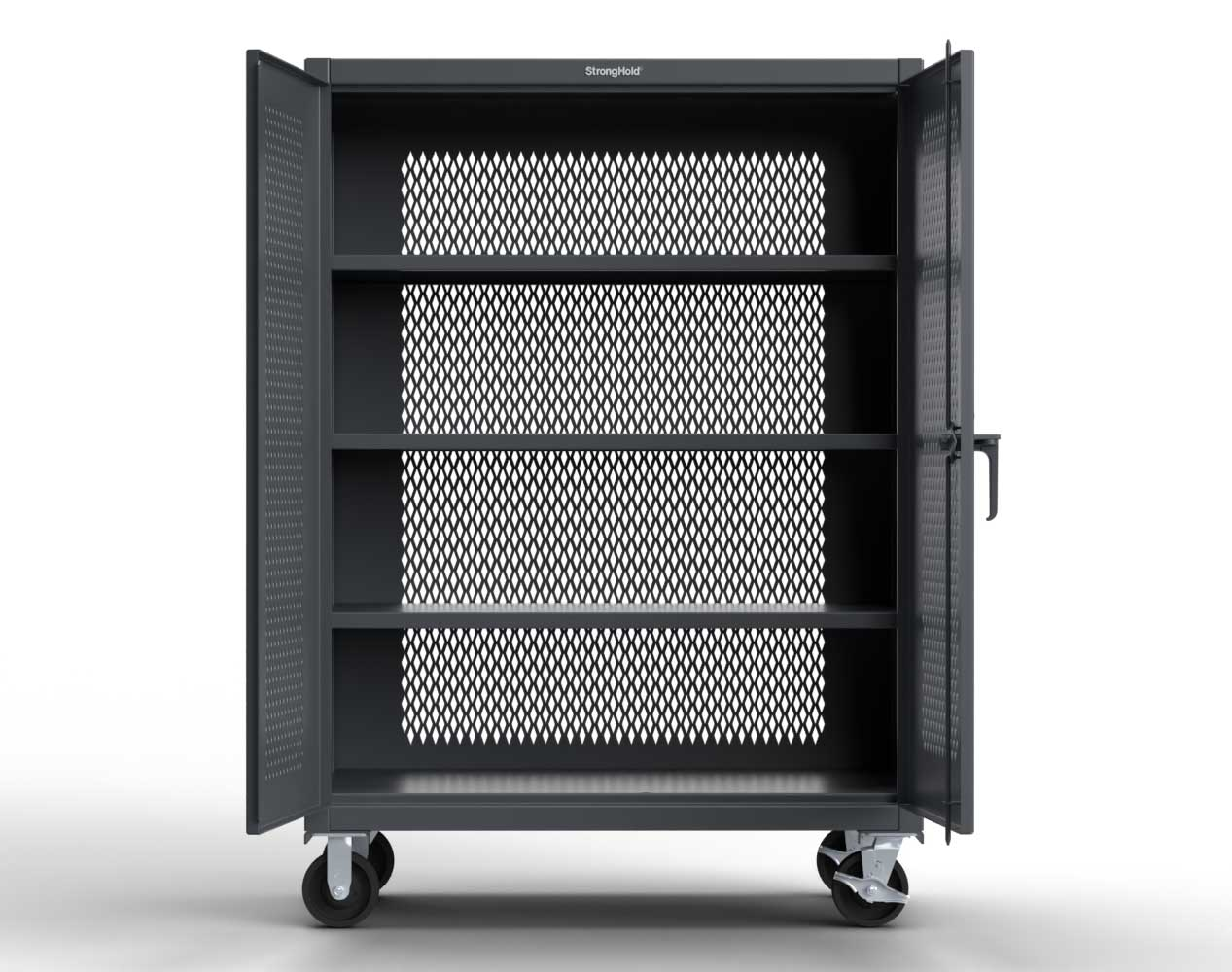 Extra Heavy Duty 12 GA Fully-Ventilated Mobile Cabinet with 3 Shelves – 48 In. W x 24 In. D x 68 In. H