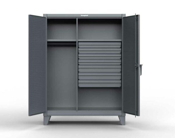 Industrial Uniform Cabinet - 7 Drawers & Pegboard