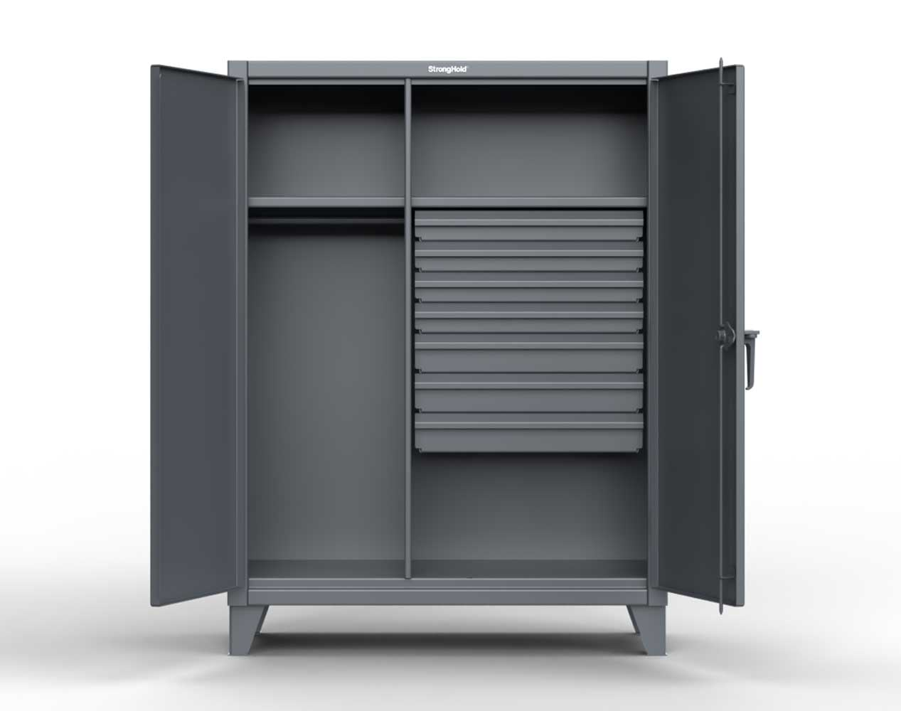 Extra Heavy Duty 12 GA Wardrobe Cabinet with 7 Drawers, 3 Shelves – 60 In. W x 24 In. D x 78 In. H
