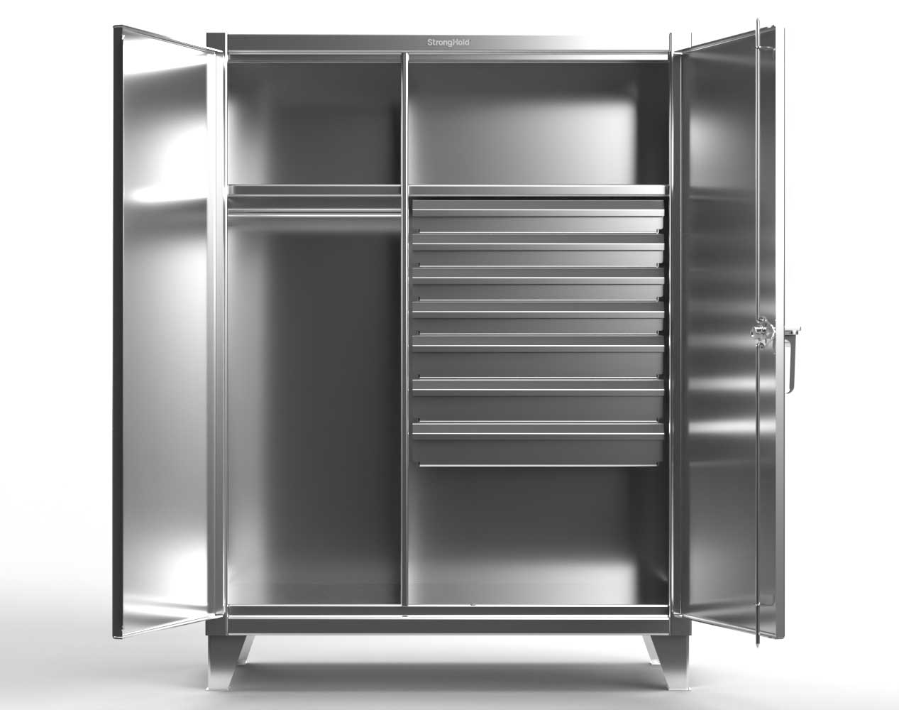 Extra Heavy Duty 12 GA Stainless Steel Wardrobe Cabinet with 7 Drawers, 2 Shelves – 48 In. W x 24 In. D x 66 In. H