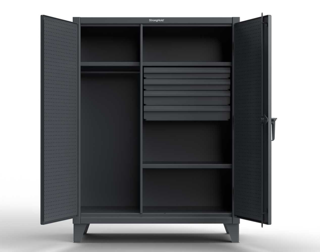 Extra Heavy Duty 12 GA Wardrobe Cabinet with 4 Drawers, Pegboard, 4 Shelves – 36 In. W x 24 In. D x 78 In. H